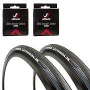 Michelin Lithion 2 Clincher Road Tyre Twin Pack with 2 Free Tubes Grey/Black 700c x 25mm