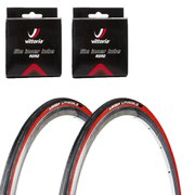 Michelin Lithion 2 Clincher Road Tyre Twin Pack with 2 Free Inner Tubes Red/Black 700c x 23mm