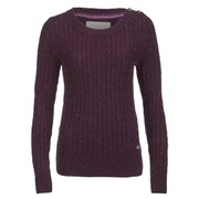 Superdry Women's New Croyde Cable Crew Neck Jumper - Damson Nep