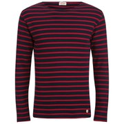 Armor Lux Men's Héritage Stripe Long Sleeve Top - Navy/Braise Red