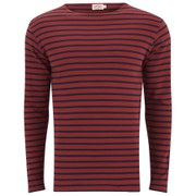 Armor Lux Men's Héritage Breton Stripe Long Sleeve T-Shirt - Terre Cuite Red/Marine Deep Navy