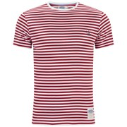 Armor Lux Men's Stripe Crew Neck T-Shirt - White/Red