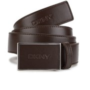 DKNY Mens Nappa Leather Buckled Belt - Brown