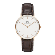 Daniel Wellington Classic York Rose Gold Watch - Croc Brown