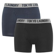 Tokyo Laundry Men's 2 Pack Sports Boxers - Black/Indigo Marl