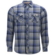 Tokyo Laundry Men's Checked Cotton Shirt - Velvet Blue