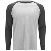 Tokyo Laundry Men's Raglan Sleeve Logo Top - Charcoal Marl/Grey