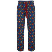 Superman Men's All Over Print Lounge Pants - Blue