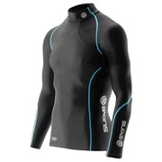 Skins Men's A200 Thermal Long Sleeve Compression Mock Neck Top - Black/Neon Blue