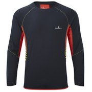 RonHill Men's Advance Long Sleeve Crew Top - Black/Red