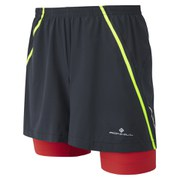RonHill Men's Advance Twin Short - Black/Red