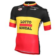 Vermarc Lotto Soudal Belgium National Champion Short Sleeve Full Zip Jersey - Black
