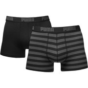 Puma Men's 2 Pack Striped Boxers - Black/Grey