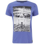 Firetrap Men's City Bridge Printed T-Shirt - Ampara Blue Slub
