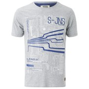 Smith & Jones Men's Dillington Print T-Shirt - Light Grey Marl