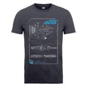 Star Wars Men's The Force Awakens Millenium Falcon Maintenance Manual T-Shirt - Tweed