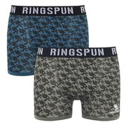 Ringspun Men's Astwood 2 Pack Boxers - Grey Marple/Petrol