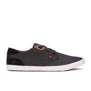 Boxfresh Men's Stern Waxed Canvas Low Top Trainers - Black/Red Chilli
