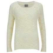 Vero Moda Women's Odessa Tipp Long Sleeve Blouse - Antique White