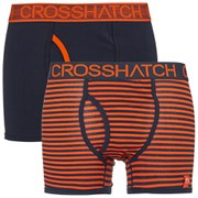 Crosshatch Men's GlowSync 2 Pack Boxers - Red Orange