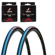 Vittoria Open Corsa CX Clincher Road Tyre Twin Pack with 2 Free Inner Tubes - Black/Blue 700c x 23mm