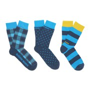Bjorn Borg Men's Tibet 3 Pack Check Socks - Block Stripe Teal