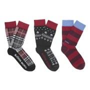 Bjorn Borg Men's Utopia 3 Pack Check Socks - Block Stripe Chilli Pepper