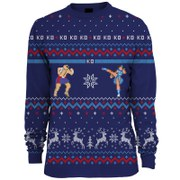 Capcom Street Fighter Sagat Vs. Chun Li Knitted Christmas Jumper - Blue
