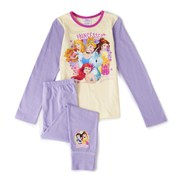 Disney Princesses Girl's Long Sleeve Pyjamas - Lilac/Cream