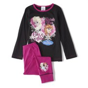 Frozen Girl's Long Sleeve Pyjamas - Pink/Black