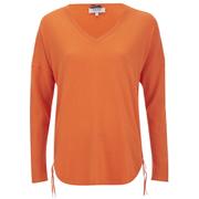 Cocoa Cashmere Women's V Neck Jumper with Side Zips - Laser Orange