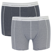 Scotch & Soda Men's Allover Printed Boxer Shorts - Black/White Stripe