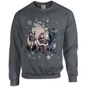 DC Originals Christmas Batman and Robin Santa Claus Kids Sweatshirt - Charcoal