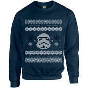 Star Wars Kids' Christmas Stormtrooper Yoda Sweatshirt - Navy