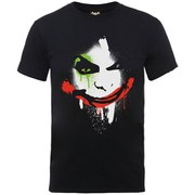 DC Comics Men's Batman Arkham City Halloween Joker Face T-Shirt - Black