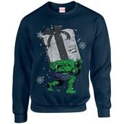 Marvel Kids' Comics Christmas Santa Hulk Sweatshirt - Navy