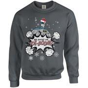 DC Originals Christmas Batman Be Good or Kaboom Santa Hat Sweatshirt - Charcoal
