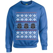 Star Wars Kids' Christmas Darth Vader Imperial Starship Sweatshirt - Royal Blue