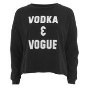 "MINKPINK Women's ""Vodka And Vogue"" Placement Print Sweater - Black"