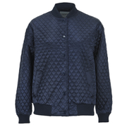 Ganni Women's Satin Quilted Bomber Jacket - Total Eclipse