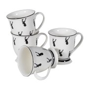Set of 4 Hand Painted Stag Cups