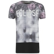Eclipse Men's Galen Rose Print Zip Longline T-Shirt - Black/White