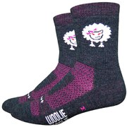 DeFeet Baaad Sheep Socks 4 Inch Cuffs - Charcoal Black/Neon Pink