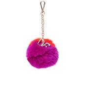 Diane von Furstenberg Women's Bicolour Fur Pom Pom Charm - Orange/Pink