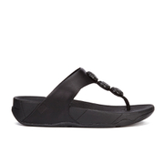 FitFlop Women's Petra Sugar Leather Toe Post Sandals - All Black