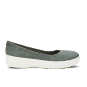 FitFlop Women's F-Sporty Suede Ballerina Pumps - Charcoal