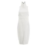 Lavish Alice Women's Cross Strap Tie Detail High Neck Midi Dress - White