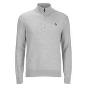 Polo Ralph Lauren Men's Half Zip Cotton Knitted Jumper - Dove Grey