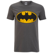 DC Comics Batman Distressed Logo Herren T-Shirt - Dunkelgrau