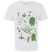 Star Wars Men's Yoda Festive Galaxy Christmas T-Shirt - White